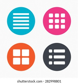 Circle buttons. List menu icons. Content view options symbols. Thumbnails grid or Gallery view. Seamless squares texture. Vector