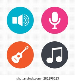 Circle buttons. Musical elements icons. Microphone and Sound speaker symbols. Music note and acoustic guitar signs. Vector