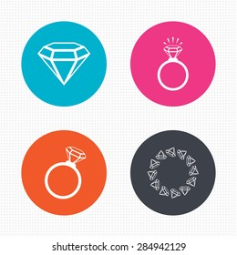 Rings Icons Jewelry Shine Diamond Signs Stock Vector