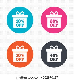 Circle buttons. Sale gift box tag icons. Discount special offer symbols. 10%, 20%, 30% and 40% percent off signs. Seamless squares texture. Vector