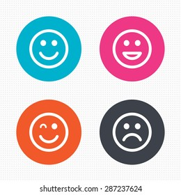 Circle buttons. Smile icons. Happy, sad and wink faces symbol. Laughing lol smiley signs. Seamless squares texture. Vector