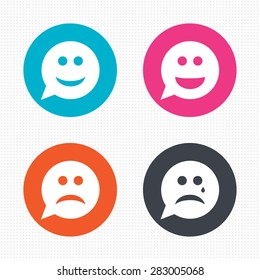 Circle buttons. Speech bubble smile face icons. Happy, sad, cry signs. Happy smiley chat symbol. Sadness depression and crying signs. Seamless squares texture. Vector