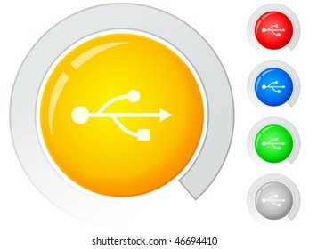 Circle buttons with USB symbol. Vector illustration.