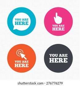 Circle buttons. You are here icons. Info speech bubble symbol. Map pointer with your location sign. Hand cursor. Seamless squares texture. Vector