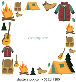 Circle Camping Frame Pattern With Tourism And Symbols Tent Backpack Campfire