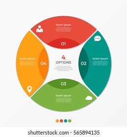 Circle chart infographic template with 4 options  for presentations, advertising, layouts, annual reports.