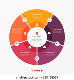 Circle chart infographic template with 5 options for presentations, advertising, layouts, annual reports. Vector illustration.