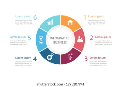 Circle chart infographic template with 6 element. Data presentation in business. Diagram of work process for success. Vector illustration in flat design background.
