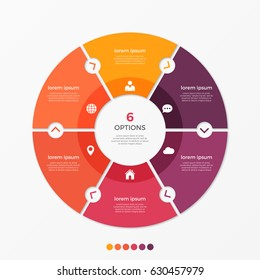 Circle chart infographic template with 6 options for presentations, advertising, layouts, annual reports. Vector illustration.