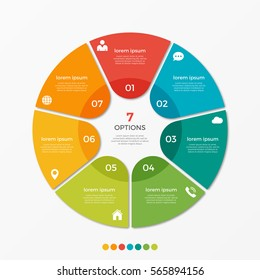 Circle chart infographic template with 7 options  for presentations, advertising, layouts, annual reports.