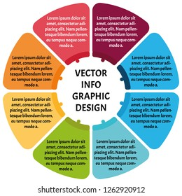 Circle chart infographic template with 8 options for presentations, advertising, layouts, annual reports. Vector illustration.