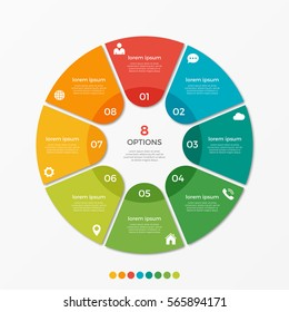 Circle chart infographic template with 8 options  for presentations, advertising, layouts, annual reports.