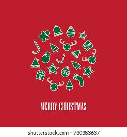 circle of christmas elements background. merry christmas design. vector illustration