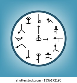 Circle clock with different yoga act on blue background. Vector design.