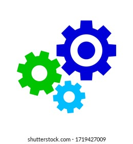 circle cog gear colorful for mechanization icon isolated on white, gear symbol for button icon for progress web, simple circle cog shape for engineering mechanism, machinery industrial technology sign