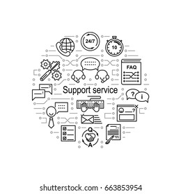 Circle collage made of help desk line icons and electrical circuit elements. Support service inscription. Editable strokes.  Vector illustration.