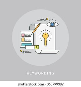 circle color line flat design of keywording, modern vector illustration