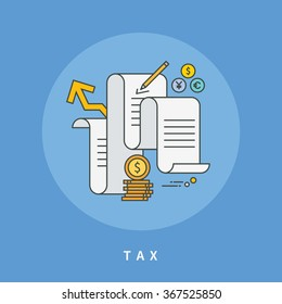 circle color line flat design of tax, modern vector illustration