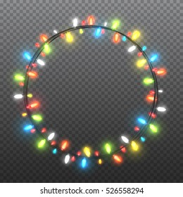 Circle colorful garlands, festive decorations. Glowing christmas lights isolated on transparent background. Vector objects.