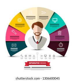 Circle Colorful Papers Vector Infographic Design with Business Man Avatar and Icons. Data Flow Concept Web Graphic Design.