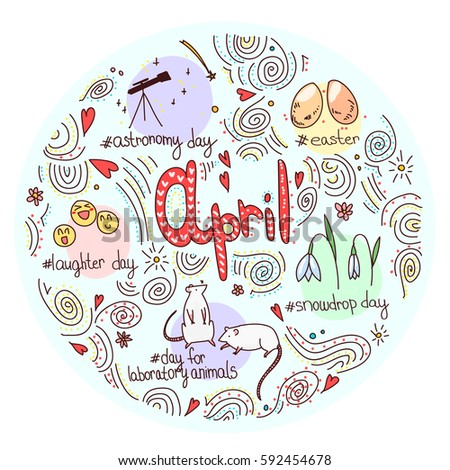 f9755e520721 Circle concept of April International Holidays. Colorful spring vector  illustration
