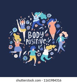 Circle concept with curvy woman and sign body positive. Plus size models vector illustration