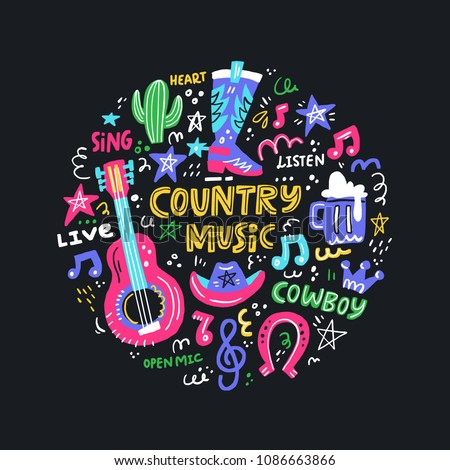 Circle Concept Symbols Country Music Lettering Stock Vector Royalty