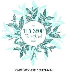 Circle concept, tea vector illustration. Tea leaves frame illustration. Menu label with tea leaves. Linear graphic.