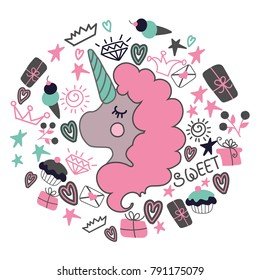 Circle concept with unicorn and heart, cupcakes, icecreams,presents, stars - cute vector illustration