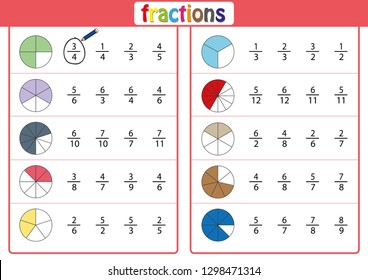 circle the correct fraction, Mathematics, math worksheet for kids
