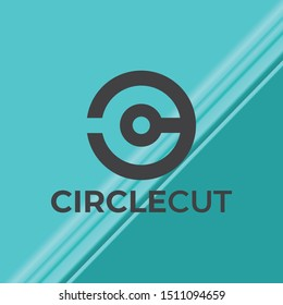 Circle Cut And C Letter Logo Vector