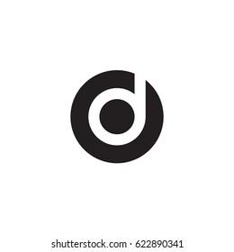 circle d logo, initial logo od, do, d inside o rounded letter negative space logo black