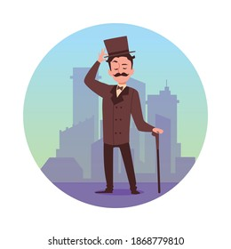Circle decorative element with vintage gentleman in hat at backdrop of city, flat vector illustration isolated on white background. Victorian gentleman character.