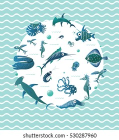 Circle design element with different fishes on wavy background. Flying fish, Flounder fish, Moray Eel, jumping Marlin, Seahorse, Cuttlefish, Nautilus, Octopus, Shrimp, Angler fish, Hammerhead shark.