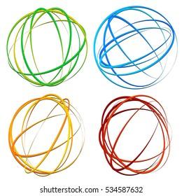Circle design element with random oval, ellipse shapes