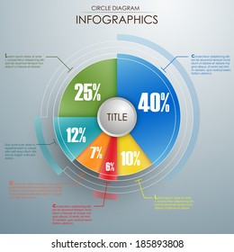 Circle diagram with different percentage. EPS 10 vector illustration