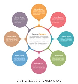 Circle diagram with eight elements, infographic template, vector eps10 illustration