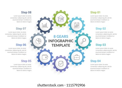 Circle diagram with eight gears, vector eps10 illustration