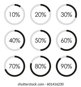 Circle diagram set with percentage. Pie chart infographics template. 10 20 30 40 50 60 70 80 90 percent. Vector illustration.