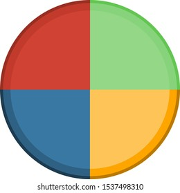 Circle divided in four. Pie chart with four same size sectors. Clean design - transparent background, great for presentations.