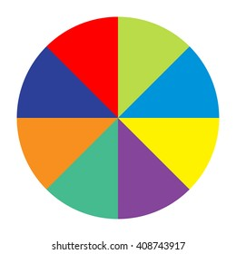 circle divided into eight equal parts colored, section forty five degrees vector