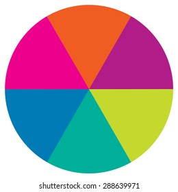 circle divided into six equal parts colored, section sixty degrees vector