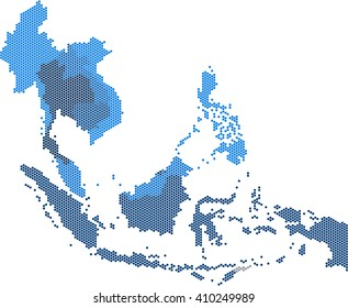 Circle dot South east Asia and nearby countries map. Vector illustration