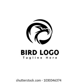 Circle eagle head art logo