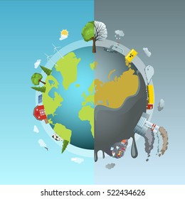 Circle ecology composition with cartoon style drawn earth globe divided into two halves clean and polluted vector illustration