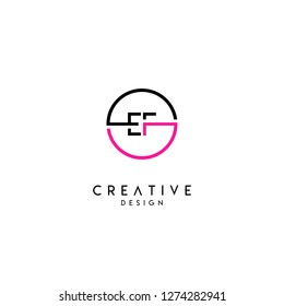 circle ef logo letter design concept in neon red and black colors