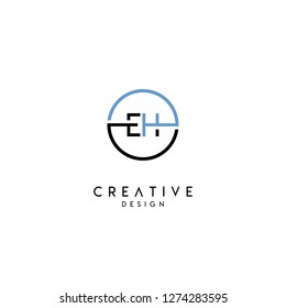 circle eh logo letter design concept in gray and black colors