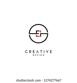 circle ei logo letter design concept in red and black colors