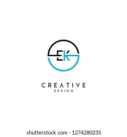 circle ek logo letter design concept in black and blue colors