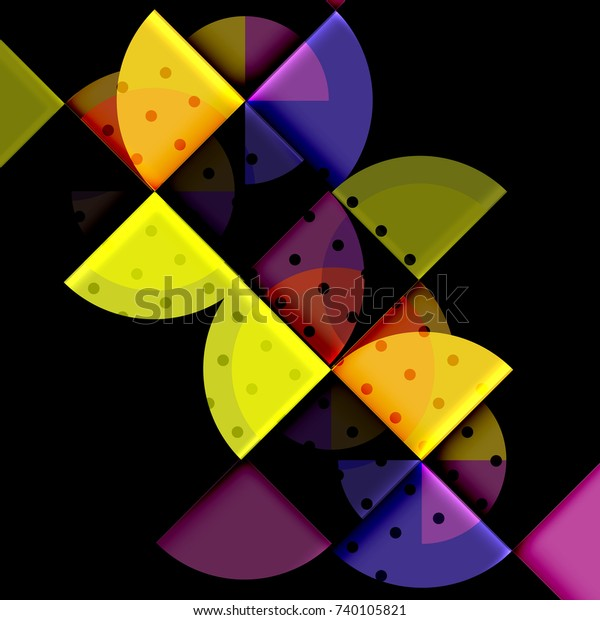 Circle elements on black background, vector geometric template design